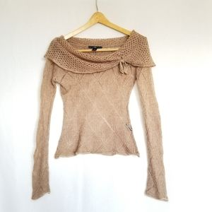 H&M Tan Off Shoulder Longsleeved  Knitted Top